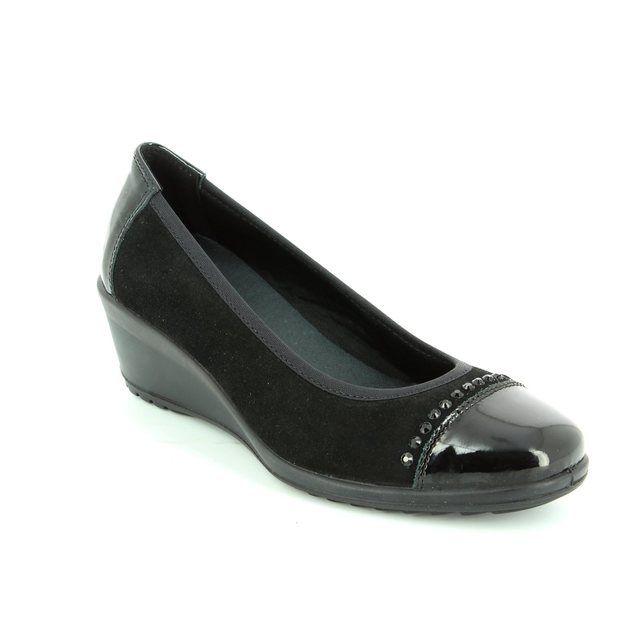 IMAC Ambradica 82091-7150011 Black patent/suede heeled