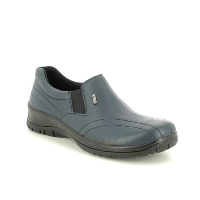 Alpina Comfort Slip On Shoes - Navy Leather - 4257/E EIKELEA 95 TEX