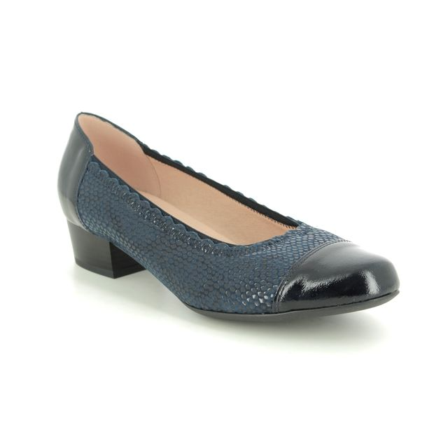 Alpina Heeled Shoes - Navy Patent-Suede - 8D50/2 MELODY H