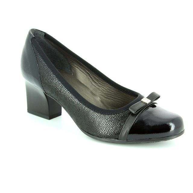 Alpina Pia 8239-4 Black patent/suede heeled shoes