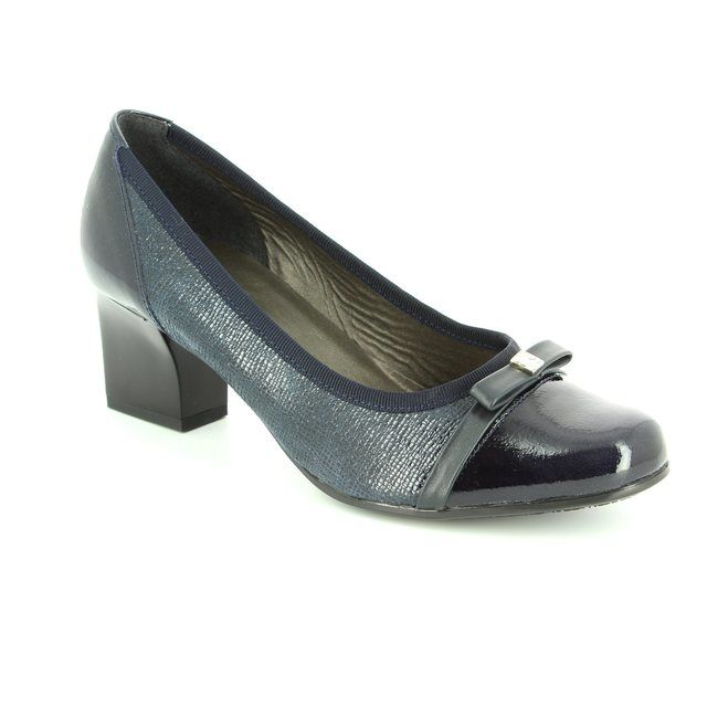 Alpina Pia 8239-5 Navy patent-suede heeled shoes