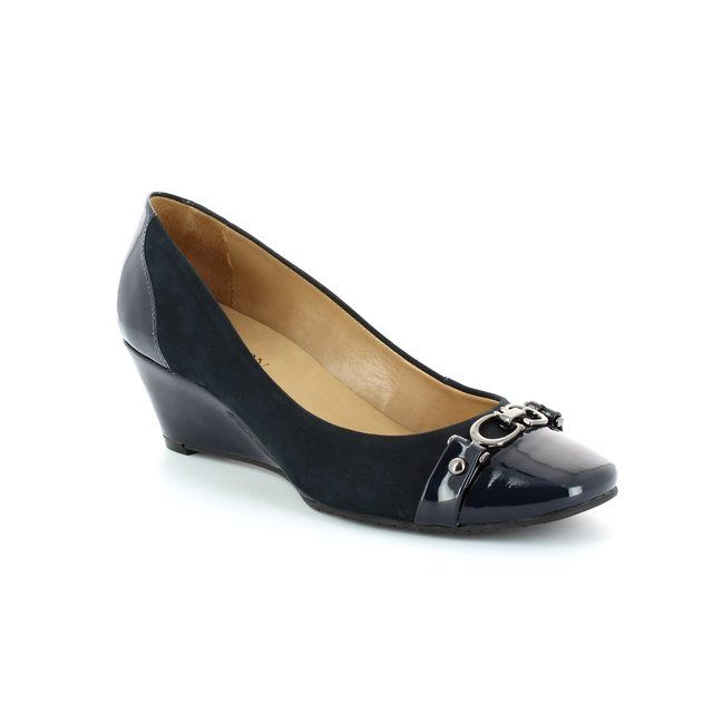 Ambition Wedge Shoes - Navy patent - 3815/77 MODENA