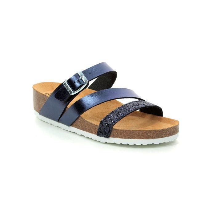 Ara Bali Strap 17277-02 Navy multi Slide Sandals