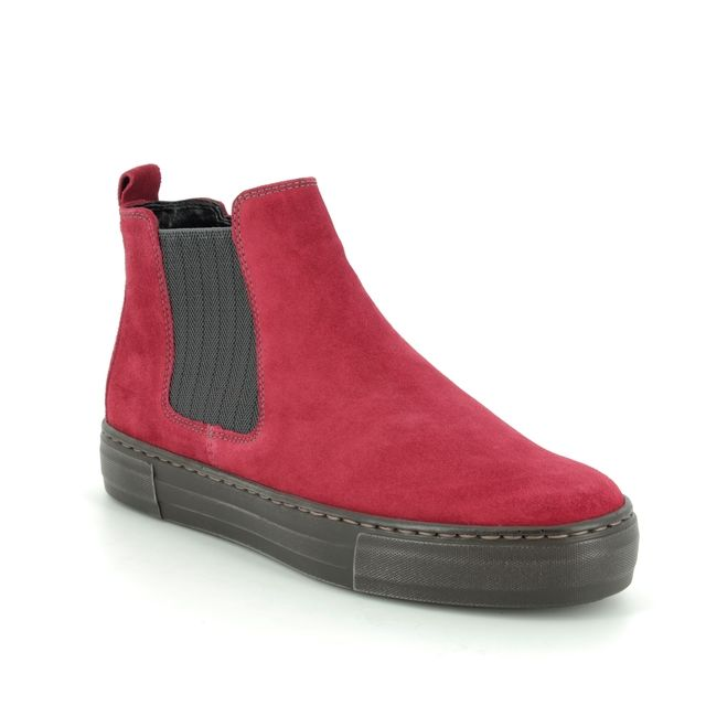 Ara Chelsea Boots - Red nubuck - 47485/66 COURT BOOT WIDE FIT