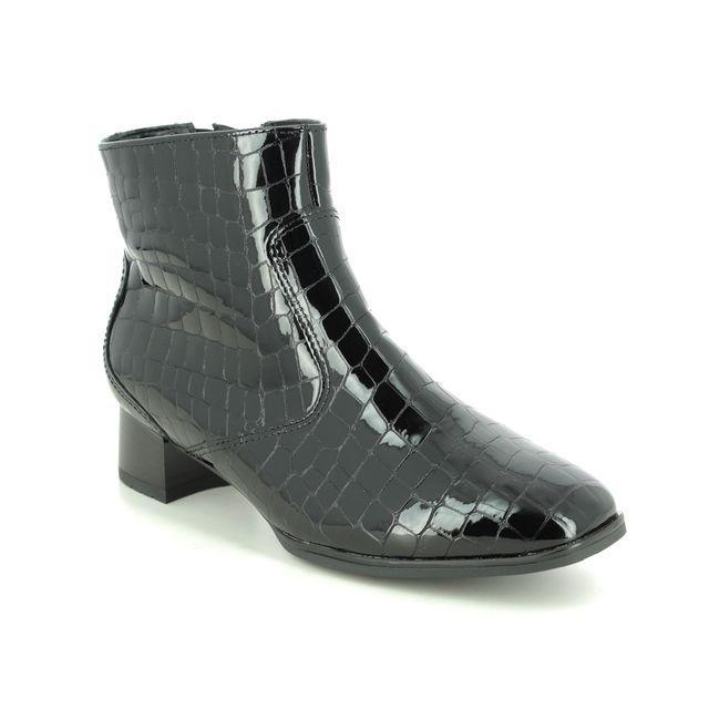 Ara Ankle Boots - Black croc - 11811/64 GRAZ SOFT WIDE