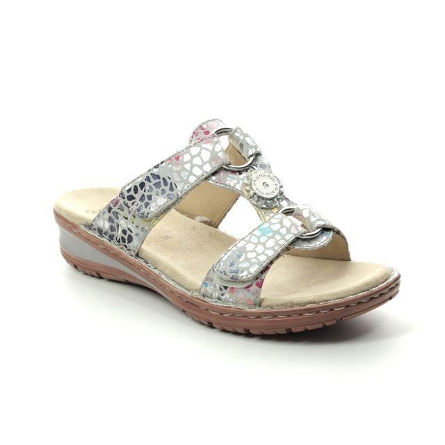 Ara Hawaii Koredis 27232-88 Grey Floral Slide Sandals
