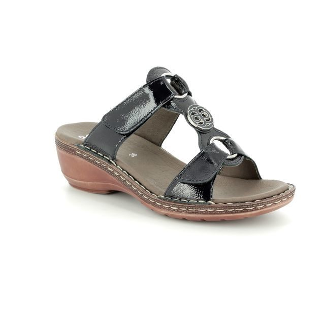 Ara Wedge Sandals - Navy patent - 37249/13 KEYWEST