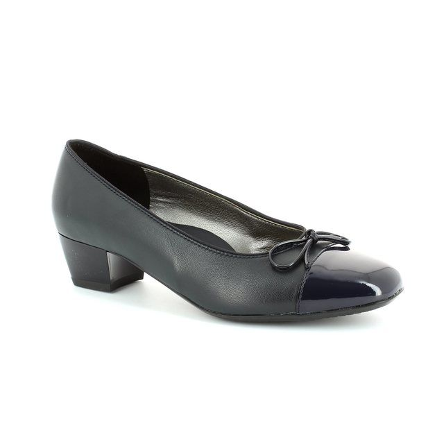 Ara Madi 1243503-14 Navy patent heeled shoes