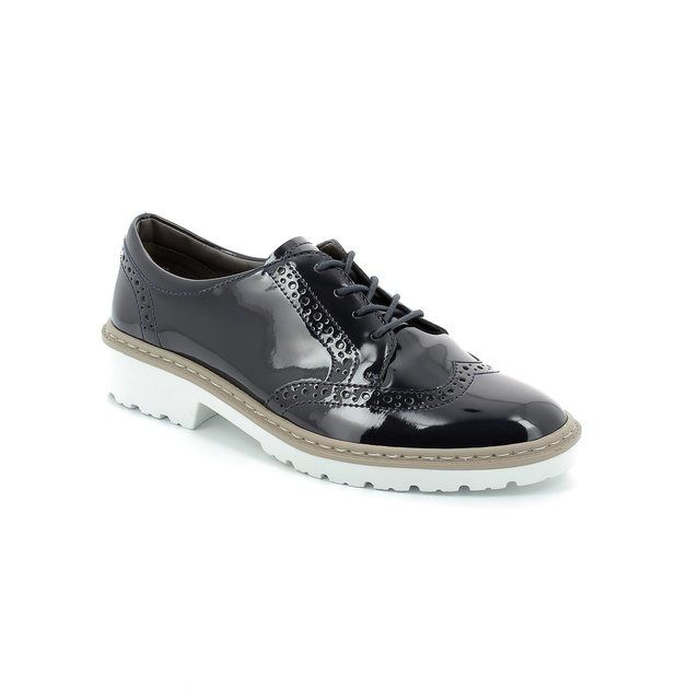 Ara Portland 60006-08 Navy patent lacing shoes