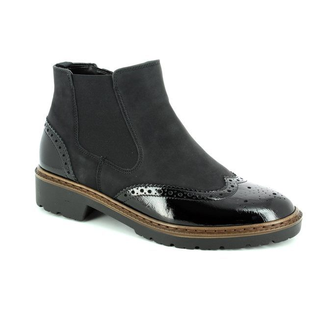 Ara Chelsea Boots - Black patent - 60004/60 PORTLAND BROGU