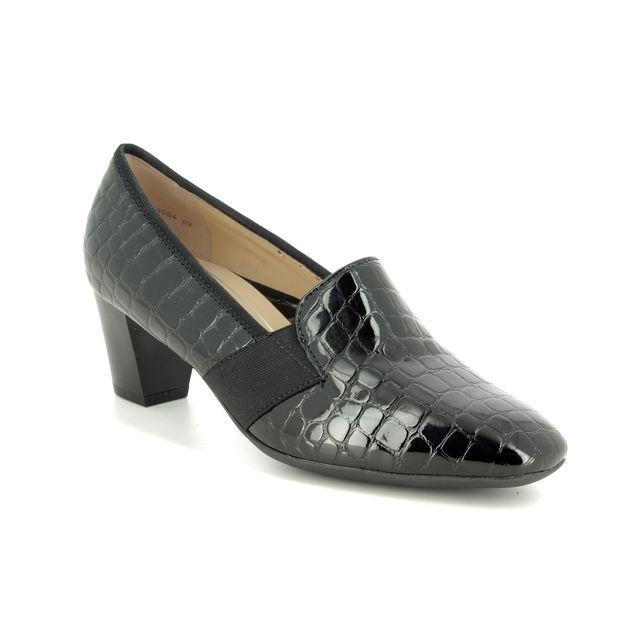 Ara Heeled Shoes - Black croc - 18004/07 VERONA TAB WIDE FIT