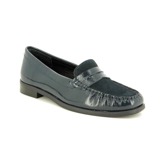 Begg Shoes Loafers - Navy Nubuck Patent - 16508/77 DONELLA