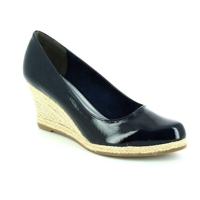 Marco Tozzi Senwedge 22440-805 Navy patent heeled shoes