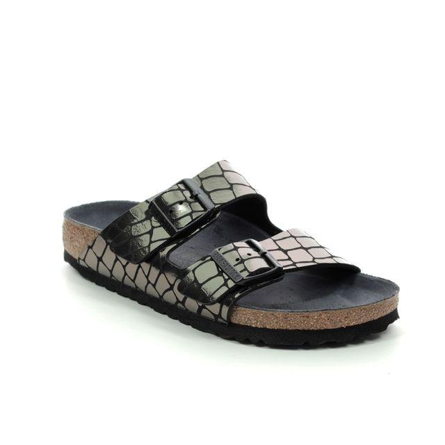 Birkenstock Arizona Ladies 1016045 Black croc Slide Sandals