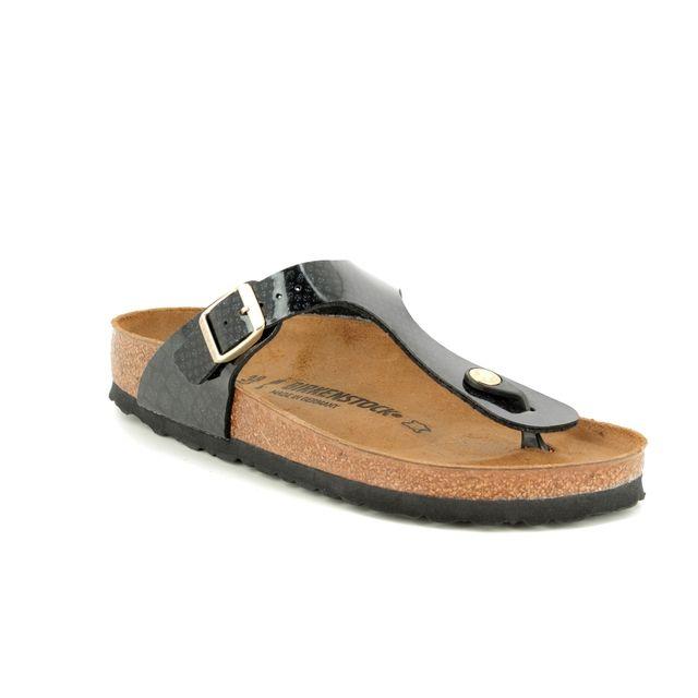 Birkenstock Gizeh Magic Snake 1009114 Black patent Toe Post Sandals