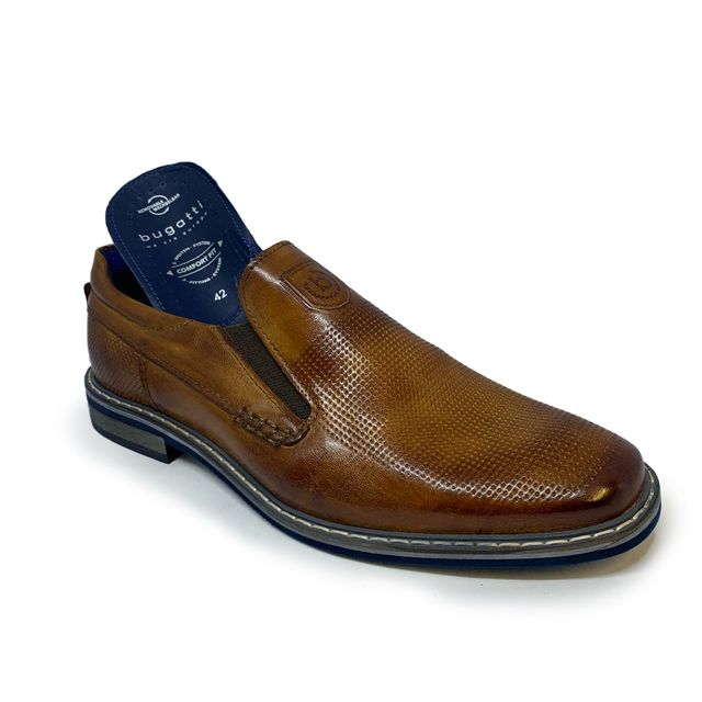 Bugatti Slip-on Shoes - Tan Leather  - 31189660/6300 RAFO TWIN SLIP ON