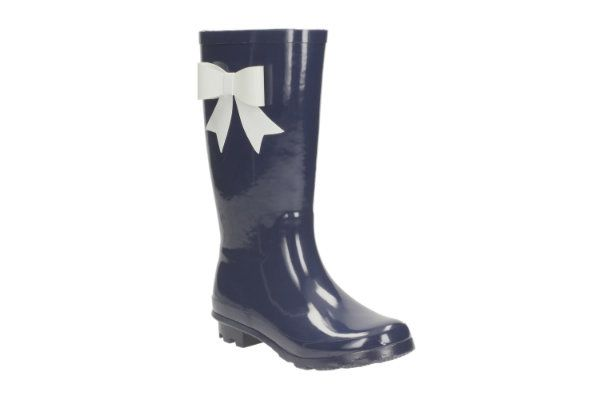 Clarks Adelphibow Jnr F Fit Navy wellies
