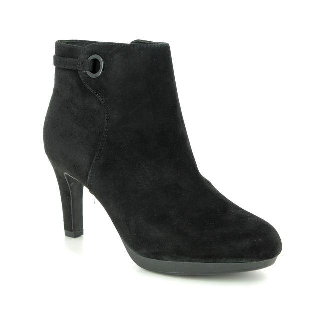 Clarks Adriel Mae D Fit Black Suede Ankle Boots
