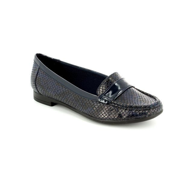 Clarks Loafers - Navy patent-suede - 1789/84D ATOMIC LADY