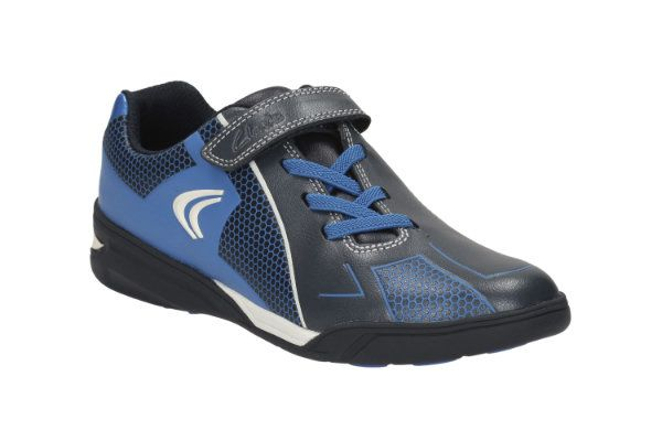 Clarks Award Leap Jnr F Fit Navy multi trainers