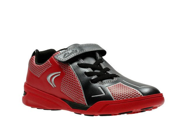 Clarks Award Leap Jnr F Fit Red trainers