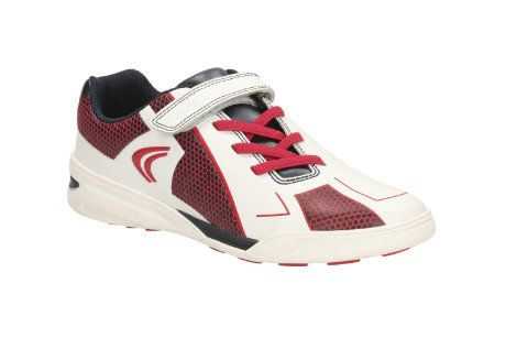Clarks Award Leap Jnr F Fit White multi trainers