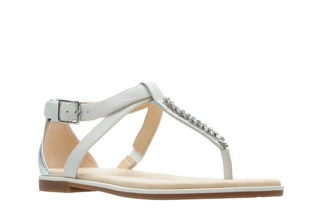 Clarks Bay Poppy D Fit White multi Flat Sandals