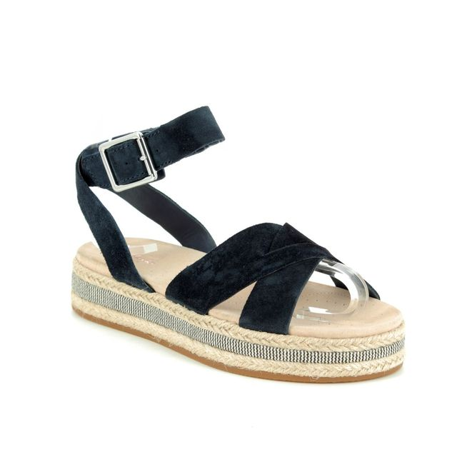 Clarks Botanic Poppy D Fit Navy Flat Sandals