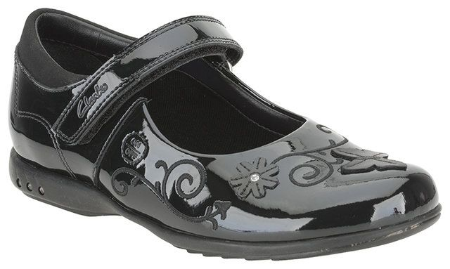 Clarks Breena Love F Fit Black patent everyday shoes