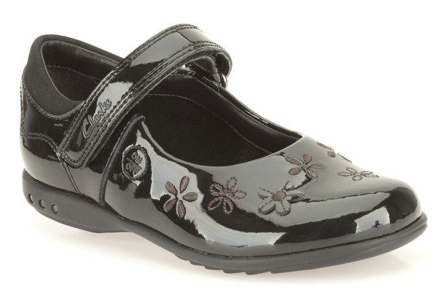 Clarks Breena Toes In E Fit Black patent everyday shoes