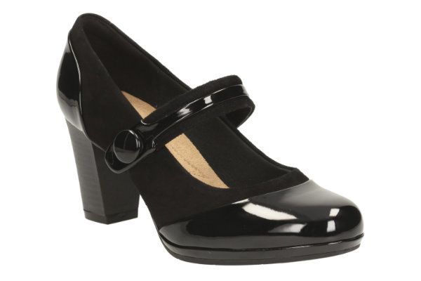 Clarks Brynn Mare D Fit Black patent/suede heeled shoes