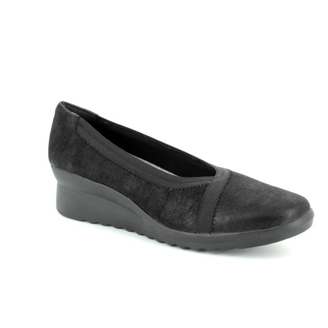 Clarks Wedge Shoes - Black - 3051/34D CADDELL DASH