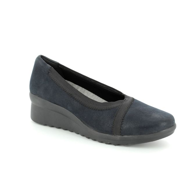 Clarks Wedge Shoes - Navy - 3202/34D CADDELL DASH