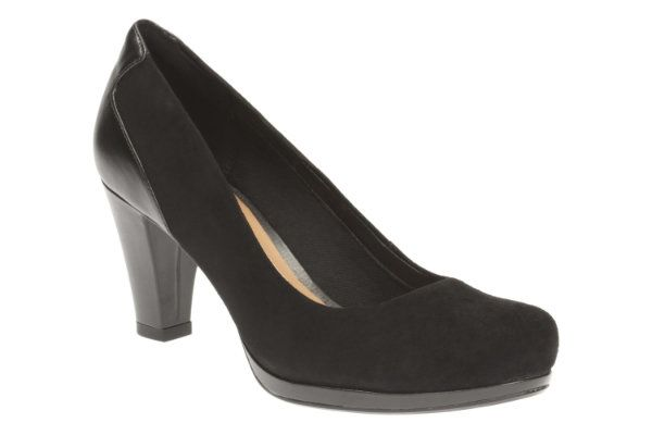 Clarks High-heeled Shoes - Black suede - 1953/04D CHORUS CHIC