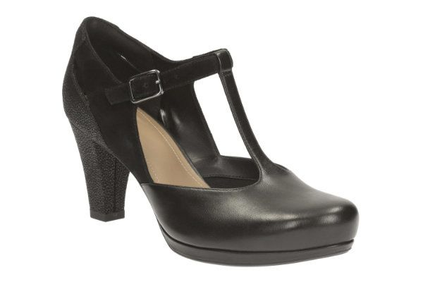 Clarks Chorus Gia D Fit Black high-heeled shoes