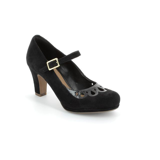 Clarks Chorus Music D Fit Black suede or snake high-heeled shoes