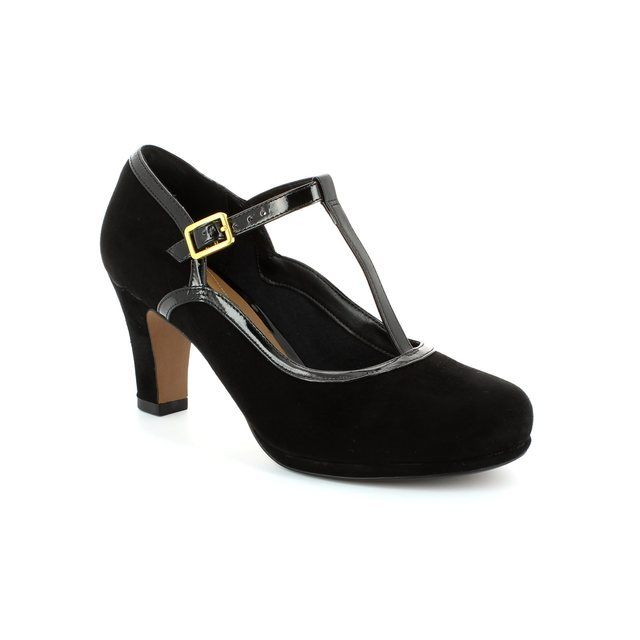 Clarks Chorus Tempo D Fit Black patent/suede high-heeled shoes