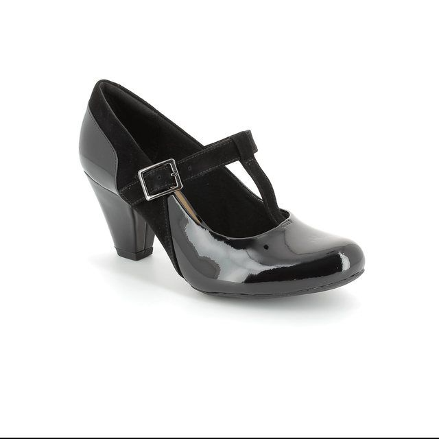Clarks Coolest Lass D Fit Black patent high-heeled shoes