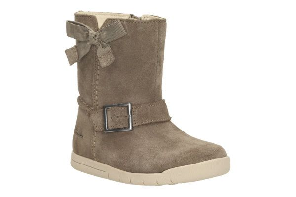 Clarks Crazy Fun Fst F Fit Taupe suede first shoes