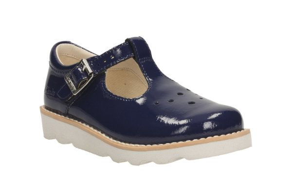 Clarks Crown Pop Inf F Fit Navy patent everyday shoes