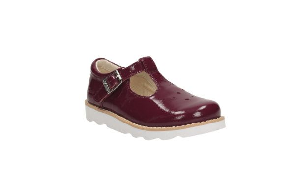 Clarks Crown Pop Inf F Fit Wine patent everyday shoes