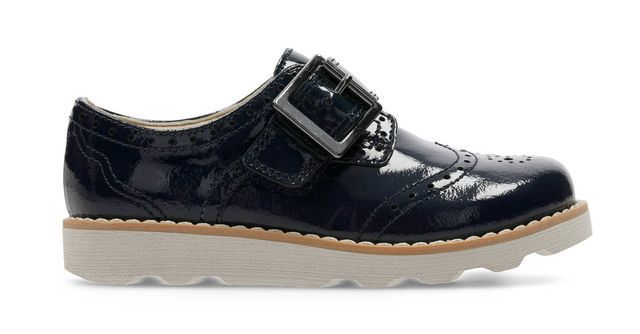 Clarks Crown Pride Fs F Fit Navy patent first shoes