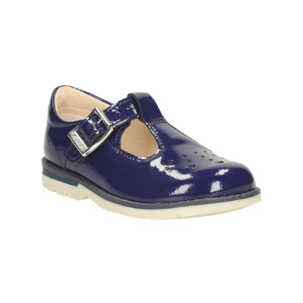 Clarks Dabi Leila Fst F Fit Navy patent first shoes