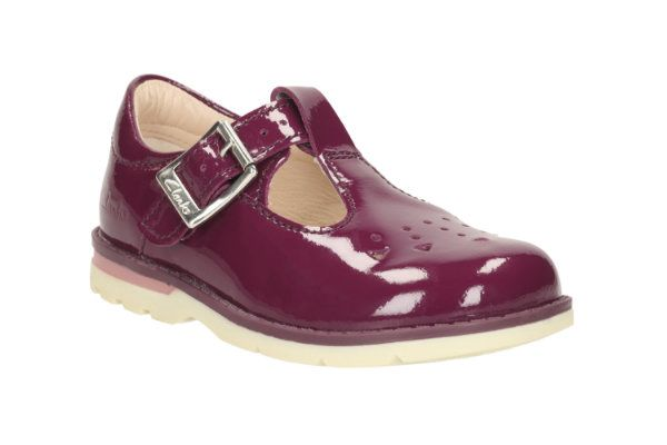 Clarks Dabi Leila Fst F Fit Wine patent first shoes