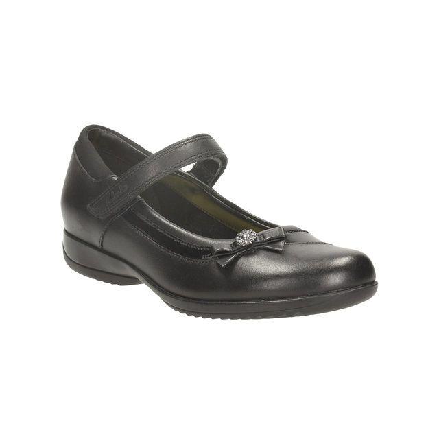 Clarks Daisy Beth Jnr E Fit Black school shoes