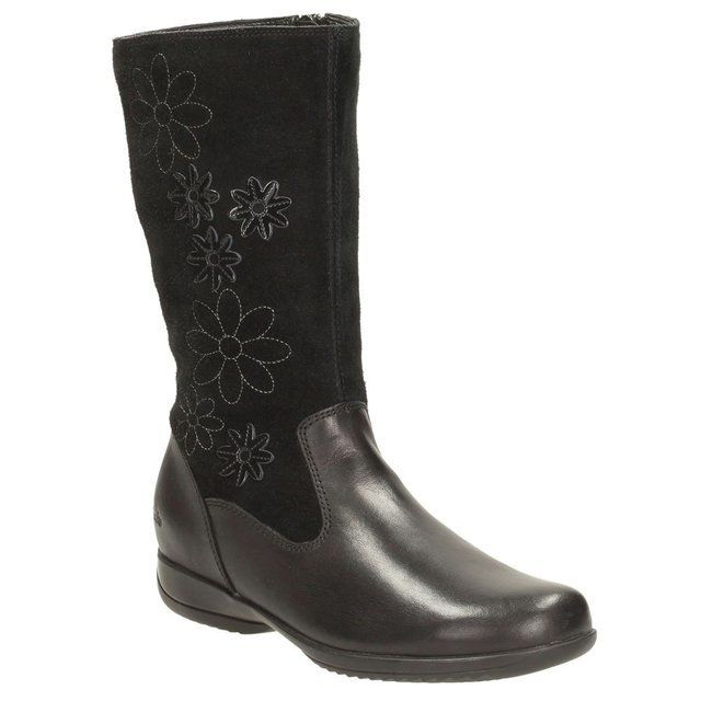 Clarks Daisy Game Jnr F Fit Black boots