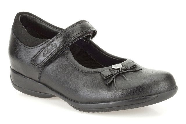 Clarks Daisy Gleam In E Fit Black school shoes