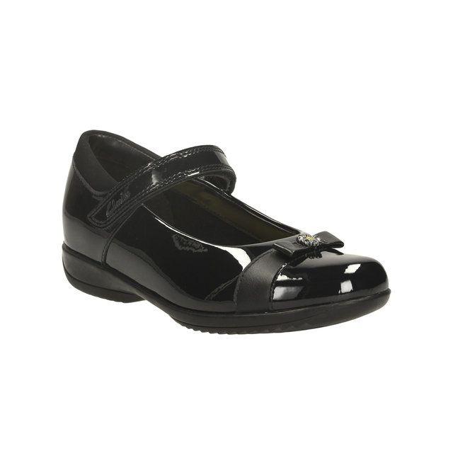 Clarks Daisy Locketin F Fit Black patent school shoes