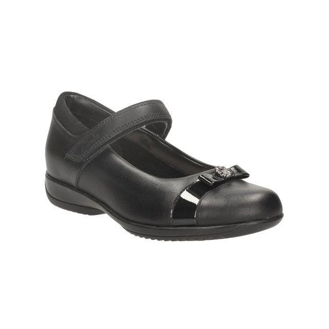Clarks Daisy Locketin F Fit Black school shoes