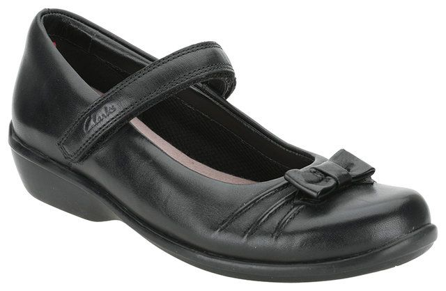 Clarks Daisy Talk Jnr H Fit Black school shoes